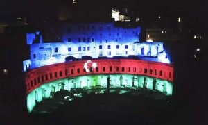 Mercati di Traiano monument complex of Ancient Rome lightened with colors of Azerbaijan's flag